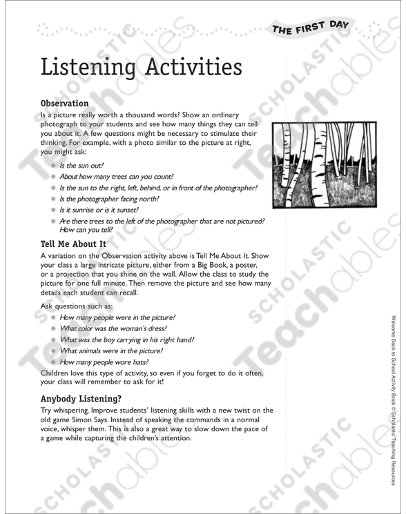 Listening Activities: First Day of School | Printable Lesson Plans