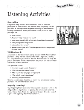 Listening Activities: First Day of School - Printable Worksheet
