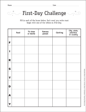 First Day Challenge: First Day of School Game - Printable Worksheet