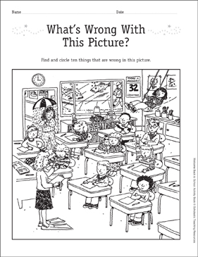 What's Wrong With This Picture? Find-and-Circle Game: First Day of School - Printable Worksheet