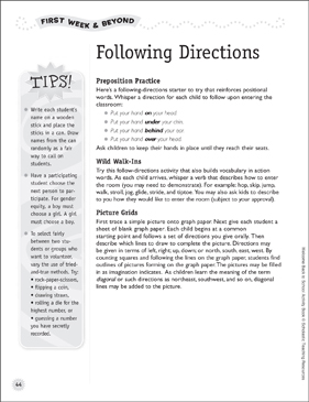 Following Directions Activities: First Week of School & Beyond - Printable Worksheet