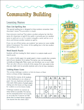 Community Building Activities: First Week of School & Beyond - Printable Worksheet