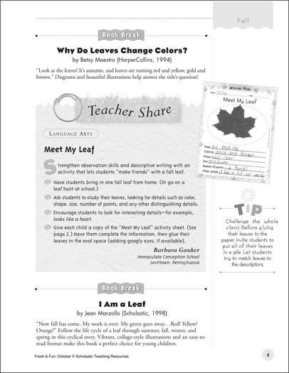 Meet My Leaf: Descriptive Writing Activity Idea - Printable Worksheet