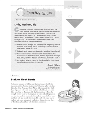 Boat Activity Ideas - Printable Worksheet