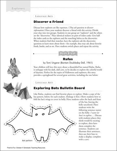 Interview Activity/Exploring Bats Bulletin Board - Printable Worksheet