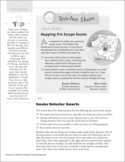 Fire Safety: Escape Route Maps and Smoke Detectors - Printable Worksheet