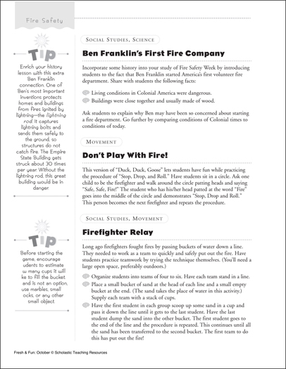 Fire Safety Lesson Ideas - Printable Worksheet
