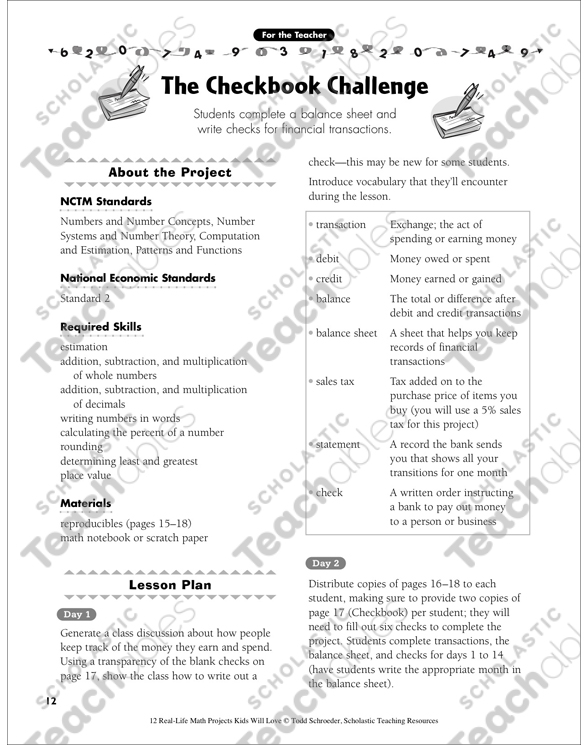 The Checkbook Challenge Real Life Math Project Printable Lesson
