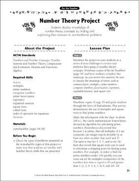 Number Theory Project: Real-Life Math Project - Printable Worksheet