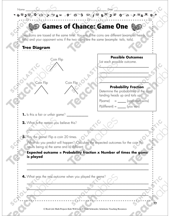 Games Of Chance Real Life Math Project Printable Lesson