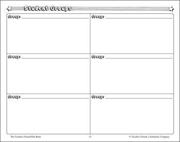 Student Groups Chart - Printable Worksheet