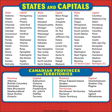 U. S. States, Capitals and Canadian Provinces and Territories: Reference Page for Students - Printable Worksheet