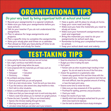 Organizational Tips and Test-Taking Tips Chart: Reference Page for Students - Printable Worksheet