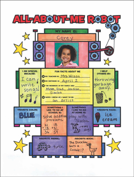 All About Me Robot: Fill-in Poster - Printable Worksheet