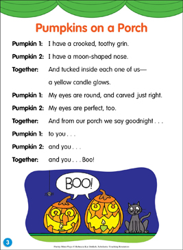 Pumpkins on a Porch: Poetry Mini-Play - Printable Worksheet