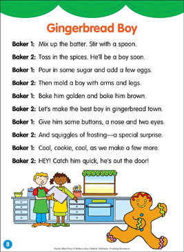 Gingerbread Boy: Poetry Mini-Play - Printable Worksheet