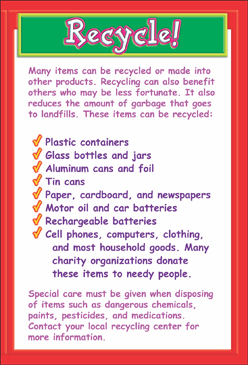 Recycle! Checklist - Printable Worksheet