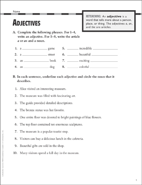 Adjectives: Grammar Practice (Grade 5) | Printable Test Prep, Tests