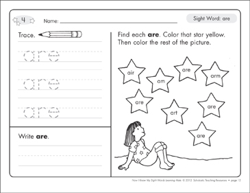 Sight Word (are): Sight Words Learning Mat - Printable Worksheet