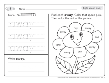 Sight Word (away): Sight Words Learning Mat - Printable Worksheet