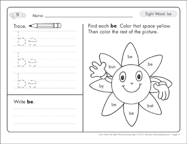 Sight Word (be): Sight Words Learning Mat - Printable Worksheet