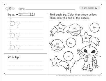 Sight Word (by): Sight Words Learning Mat - Printable Worksheet