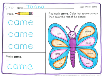 Sight Word (came): Sight Words Learning Mat - Printable Worksheet