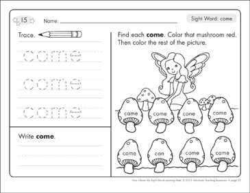 Sight Word (come): Sight Words Learning Mat - Printable Worksheet