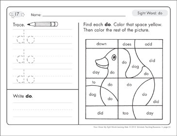 Sight Word (do): Sight Words Learning Mat - Printable Worksheet