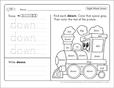 Sight Word (down): Sight Words Learning Mat - Printable Worksheet