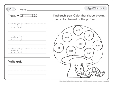 Sight Word (eat): Sight Words Learning Mat - Printable Worksheet