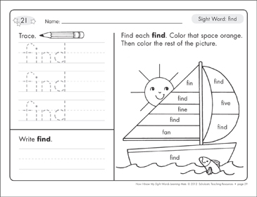 Sight Word (find): Sight Words Learning Mat - Printable Worksheet