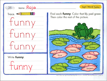 Sight Word (funny): Sight Words Learning Mat - Printable Worksheet