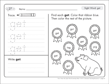 Sight Word (get): Sight Words Learning Mat - Printable Worksheet