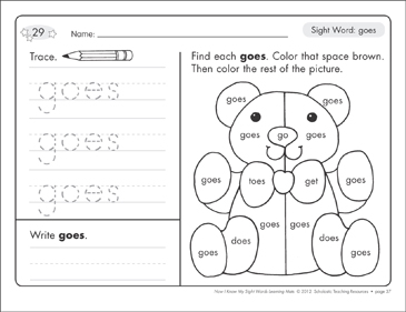 Sight Word (goes): Sight Words Learning Mat - Printable Worksheet