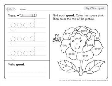 Sight Word (good): Sight Words Learning Mat - Printable Worksheet