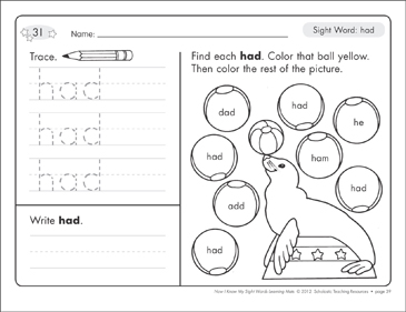 Sight Word (had): Sight Words Learning Mat - Printable Worksheet