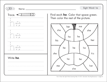 Sight Word (he): Sight Words Learning Mat - Printable Worksheet