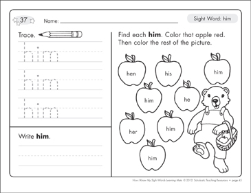 Sight Word (him): Sight Words Learning Mat - Printable Worksheet