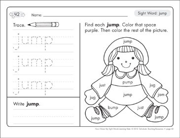 Sight Word (jump): Sight Words Learning Mat - Printable Worksheet