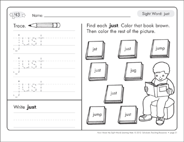 Sight Word (just): Sight Words Learning Mat - Printable Worksheet