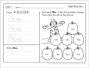 Sight Word (like): Sight Words Learning Mat - Printable Worksheet