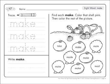 Sight Word (make): Sight Words Learning Mat - Printable Worksheet