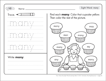 Sight Word (many): Sight Words Learning Mat - Printable Worksheet