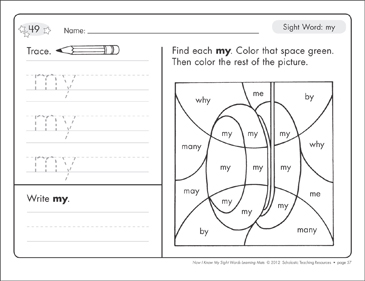 Sight Word (my): Sight Words Learning Mat | Printable Skills ...