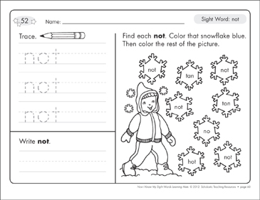 Sight Word (not): Sight Words Learning Mat - Printable Worksheet