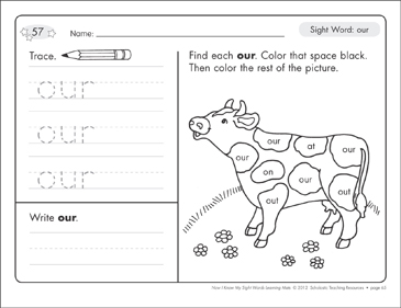 Sight Word (our): Sight Words Learning Mat - Printable Worksheet