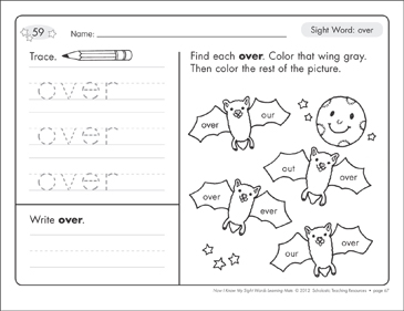 Sight Word (over): Sight Words Learning Mat - Printable Worksheet