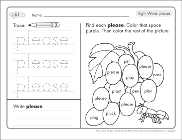 Sight Word (please): Sight Words Learning Mat - Printable Worksheet