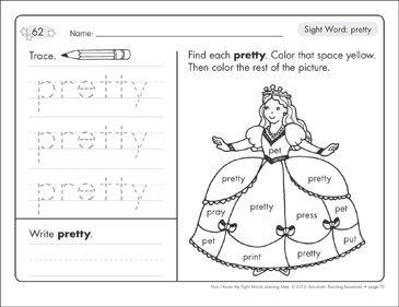 Sight Word (pretty): Sight Words Learning Mat - Printable Worksheet